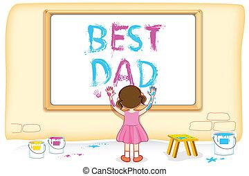 Una chica pintando al mejor padre