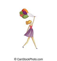 Una chica rubia con falda y un chaleco viene con globos. Ilustración de vectores sobre fondo blanco.
