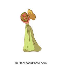 Una chica rubia con un vestido con un ramo de flores en sus manos. Ilustración de vectores sobre fondo blanco.