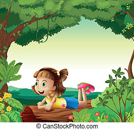 Una chica tirada en un bosque