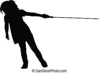 Una chica tirando de la cuerda, tira de la cuerda
