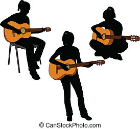 Una chica tocando guitarra