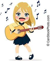 Una chica tocando la guitarra