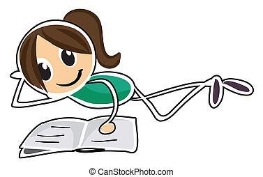 Una chica tumbada mientras leía