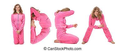 Una chica vestida de rosa haciendo ideas, collage