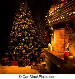 Una chimenea decorada con árbol de Navidad