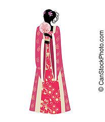 Una china con un fan en traje tradicional