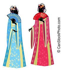 Una china con un kimono precioso