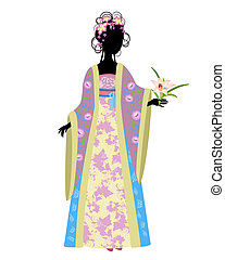 Una china vestida de lirio