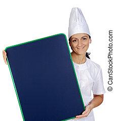 Una cocinera feliz y atractiva