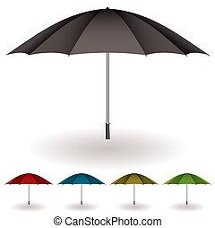 Una colección colorida de paraguas
