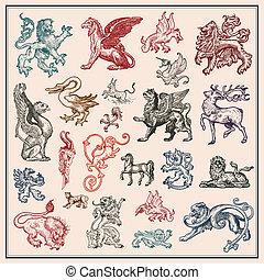 Una colección de bestias heráldicas