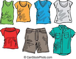 Una colección de bocetos de ropa de verano. Ilustración del vector