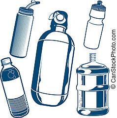 Una colección de botellas de agua
