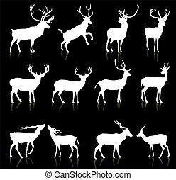 Una colección de ciervos siluetas