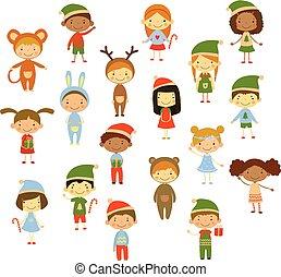 Una colección de dibujos animados de niños con diferentes disfraces de Navidad. Lindos chicos y chicas. Personajes graciosos. Diseño vectorial plano para invitación o tarjeta de felicitación