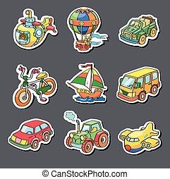 Una colección de dibujos animados de transporte, pegatinas de colores