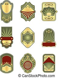Una colección de etiquetas de oro