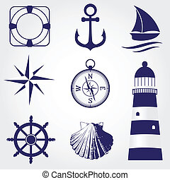 Una colección de etiquetas náuticas, iconos y elementos de diseño