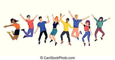 Una colección de jóvenes alegres