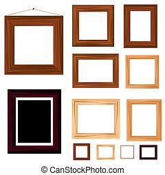 Una colección de marcos antiguos de madera