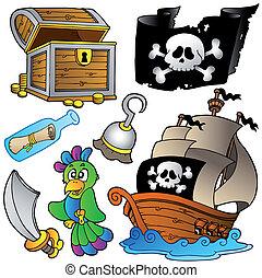 Una colección de piratas con un barco de madera