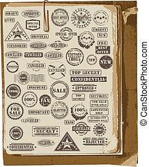 Una colección de sellos de goma
