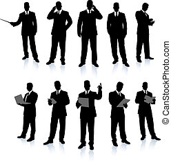 Una colección de siluetas de empresarios