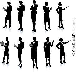 Una colección de siluetas de mujer de negocios