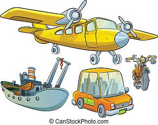 Una colección de vehículos