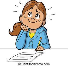 Una colegiala haciendo examen