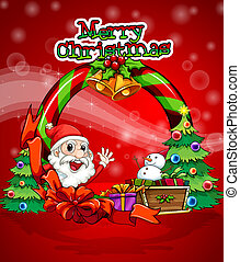 Una colorida tabla de Navidad con Santa Claus