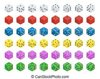 Una combinación de dados isometricos. Blanco, rojo, amarillo, verde, azul y morado cubos de póker aislados.