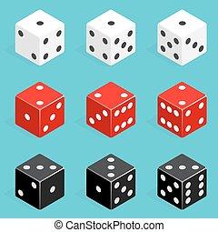 Una combinación de dados isometricos. Cubos de póker rojos, blancos y negros aislados.