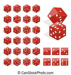 Una combinación de dados isometricos. Vector de cubos de poker rojos aislado. Colección de aplicación de apuestas y plantilla de casino