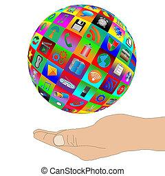 Una composición abstracta que muestra una mano humana apoyando la esfera que consiste en iconos web en un fondo blanco.