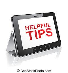 Una computadora de tablet con consejos útiles de texto