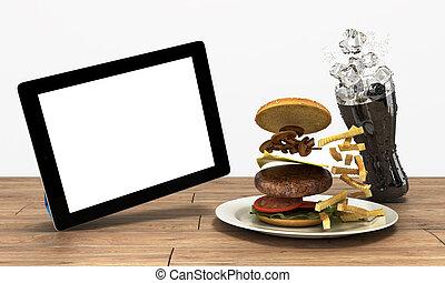 Una computadora de tablet con una pantalla en blanco en la mesa de madera con una hamburguesa y un vaso de cola con espacio libre de hielo para texto en blanco