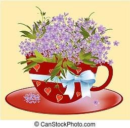 Una copa con flores