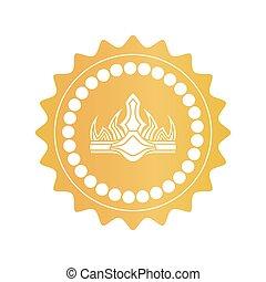 Una corona antigua en la marca real de color dorado