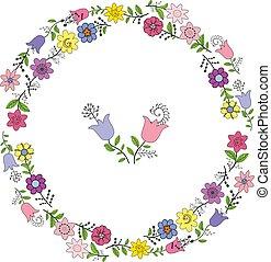 Una corona colorida de varias flores de primavera. Elementos individuales en un fondo blanco, vector dibujando ilustraciones.