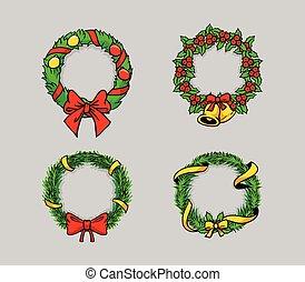 Una corona de dibujo cómico de Navidad