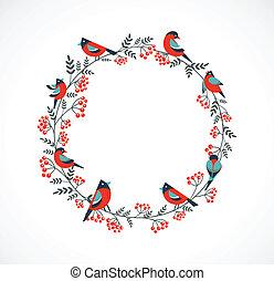 Una corona de Navidad con pájaros y arándanos