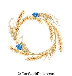 Una corona hecha de flores de lino, trigo, cebada, avena y picos de centeno. Cereales con oídos y espacio libre