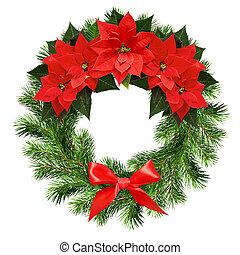 Una corona navideña de ramas de pino y flores de poinsettia