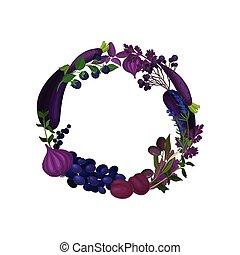 Una corona púrpura de vegetales y frutas monofónicas. Ilustración de vectores sobre fondo blanco.