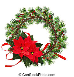 Una corona redonda de ramas secas y ramas de árbol de Navidad con bayas rojas, moño de seda y flores de poinsettia