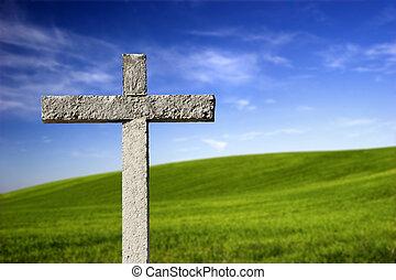 Una cruz religiosa en el paraíso