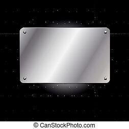 Una cuadrícula metálica con matrícula