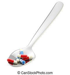 Una cuchara de metal con una porción de medicina aislada